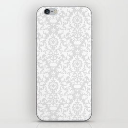 Vintage chic gray white abstract floral damask pattern iPhone Skin