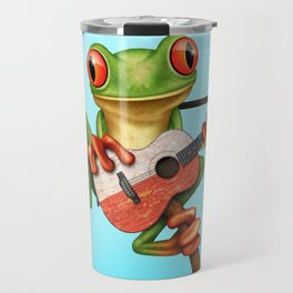 Tree Frog Playing Acoustic Guitar with Flag of Poland Travel Mug