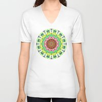 lime green V-neck T-shirts featuring Lime Green Citrus Abstract by Phil Perkins