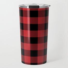 Red and Black Buffalo Plaid Lumberjack Rustic Travel Mug