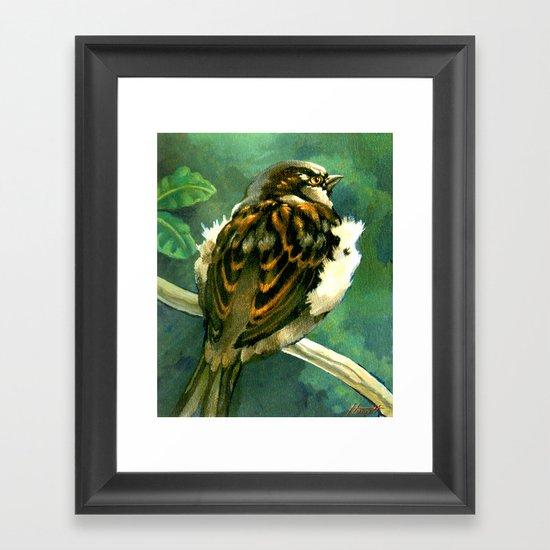 Sparrow in Puriri Tree Framed Art Print