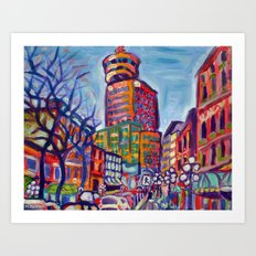 Harbour Centre From Gastown, Vancouver Art Print