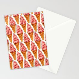 Ice Cream Pattern - Strawberry Stationery Cards
