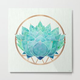 Modern Blue Succulent with Metallic Accents Metal Print