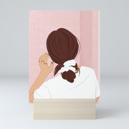 Playing with her Hair Mini Art Print