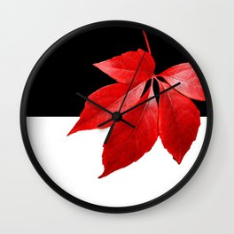 Red Leaf With Black & White Wall Clock