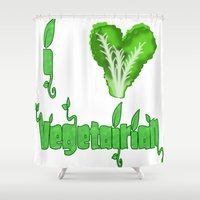 vegetarian Shower Curtains featuring i love vegetarian by Adiel Azrai