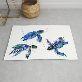 Three Sea Turtles, Marine Blue Aquatic design Rug