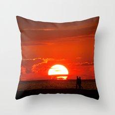 Walking at Sunset Throw Pillow