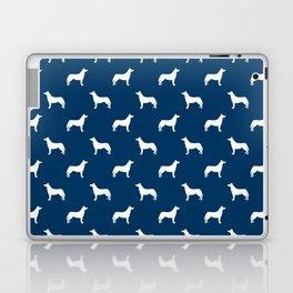 Husky dog pattern simple minimal basic dog silhouette huskies dog breed navy and white Laptop & iPad Skin