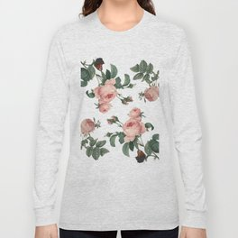 Rose Garden Butterfly Pink on White Long Sleeve T-shirt