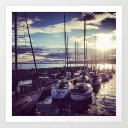 Boats in Harbour, White Rock, Vancouver Art Print