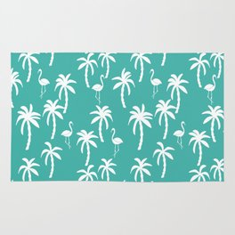 Tropical flamingo and palm trees pattern by andrea lauren cute illustration summer patterns turq Rug