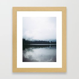 Minimalist Cold Landscape Pine Trees Water Reflection Symmetry Framed Art Print