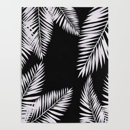 Watercolor tropical palm leaves black Poster