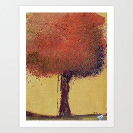 Autumn Orange Tree Painting Art Print