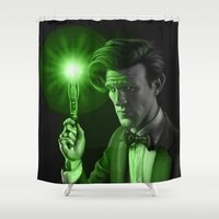 doctor who Shower Curtains featuring Doctor Who by Tony Calabro Illustration