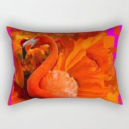 ART DECO  Saffron Flamingo Orange  Fuchsia Fantasy Painting Rectangular Pillow