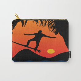 Man Surfing at Sunset Graphic Illustration Carry-All Pouch