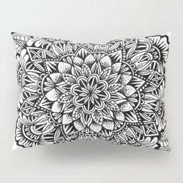 Stippled B&W Mandala Pillow Sham