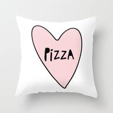 Pink Pizza Heart Throw Pillow