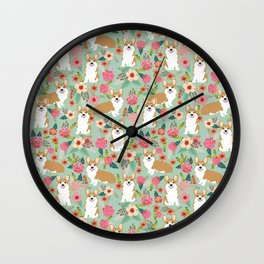 Corgi Florals - vintage corgi and florals gift great for corgi lovers, corgi gift, corgi florals, co Wall Clock