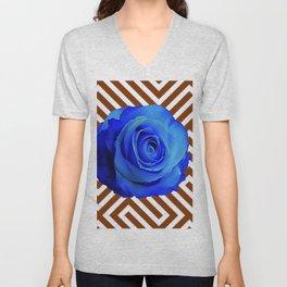 CONTEMPORARY  DECO  BLUE ROSE & BROWN ART Unisex V-Neck