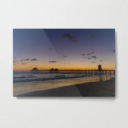 New Moon Over Huntington Beach Pier Metal Print
