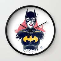 batgirl Wall Clocks featuring Batgirl by Alejandro Pinpon