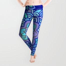 Heart mandala Pattern on Dark Blue Background Leggings