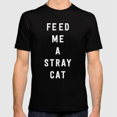 American Psycho - Feed me a stray cat. Black MEDIUM Mens Fitted Tee