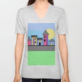 Pastel Daytime Houses Unisex V-Neck