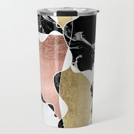 Modern white black marble rose gold foil color block handdrawn geometric lines Travel Mug