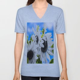 Stripped of color sunflowers Unisex V-Neck