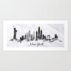 White New York Skyline Art Print
