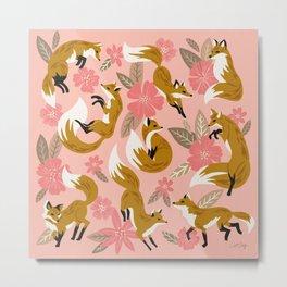Foxes & Blooms – Pink & Caramel Metal Print