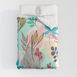 Trendy colorful leaves hand drawn cute illustration Comforters