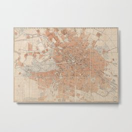 Vintage Map of Berlin Germany (1877) Metal Print