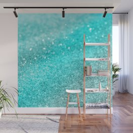Aqua Teal Ocean Glitter #1 #shiny #decor #art #society6 Wall Mural