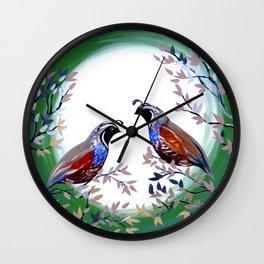 Quails and Serenity Wall Clock