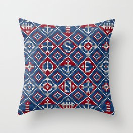 Grandma's knitting pattern for Saylor's Ugly sweater #3 Throw Pillow