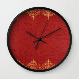 Red vintage leather gold lace frame Wall Clock