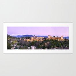 La Alhambra, Sierra Nevada and Granada. At pink sunset Art Print