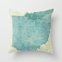 ohio state Throw Pillows featuring Ohio State Map Blue Vintage by City Art Posters