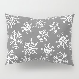 Snowflakes Pattern (Light Gray) Pillow Sham