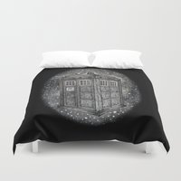 tardis Duvet Covers featuring Tardis by Elizabeth A