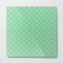 Green Concentric Circle Pattern Metal Print