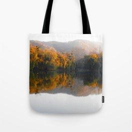 Autumn landscape on the lake. Tote Bag