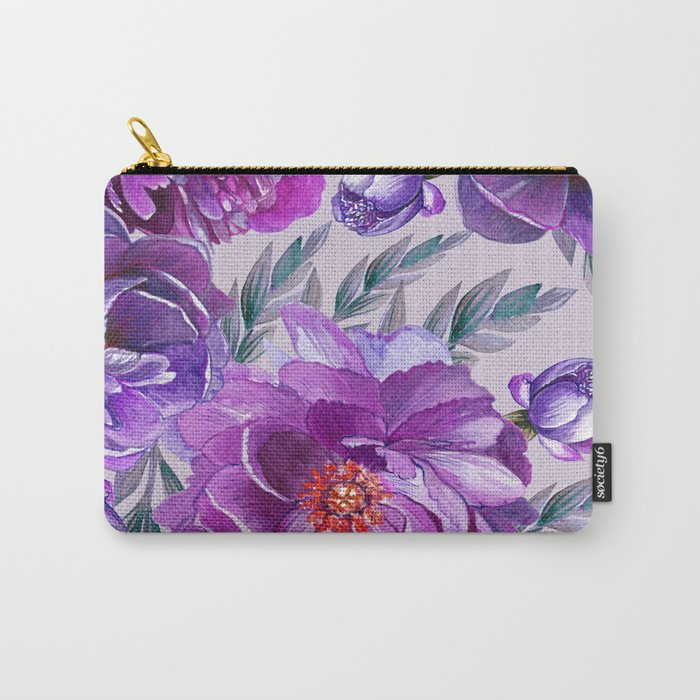 Violet and Purple Flowers Carry-All Pouch