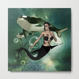 Wonderful dark mermaid with awesome orca Metal Print